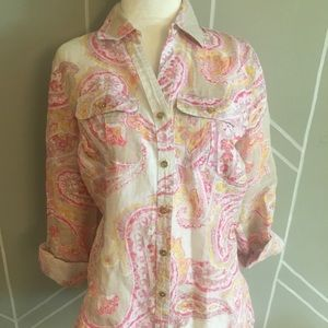 Charter Club Luxury Linen 100% Button Down Paisley